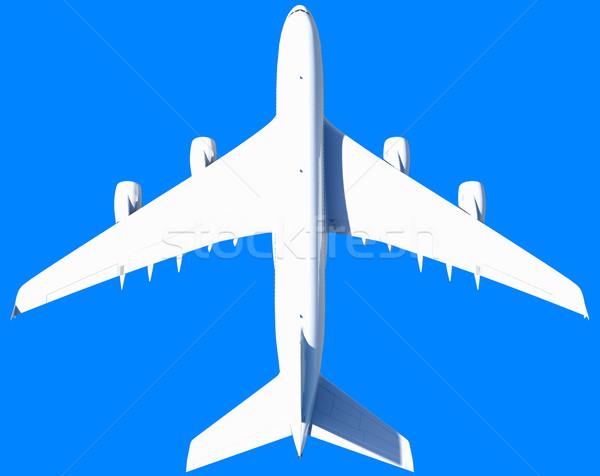 Witte moderne vliegtuig geïsoleerd Blauw vliegtuig Stockfoto © cherezoff