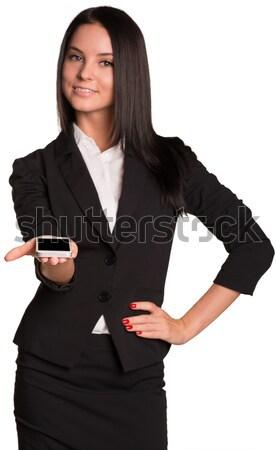 Belo mulheres alegremente mão cabeça Foto stock © cherezoff