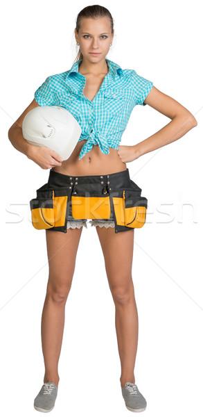 Foto stock: Bastante · nina · shorts · camisa · herramienta · cinturón