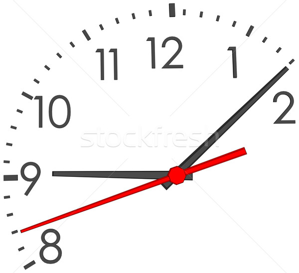 Stock photo: Clock face with red second hand