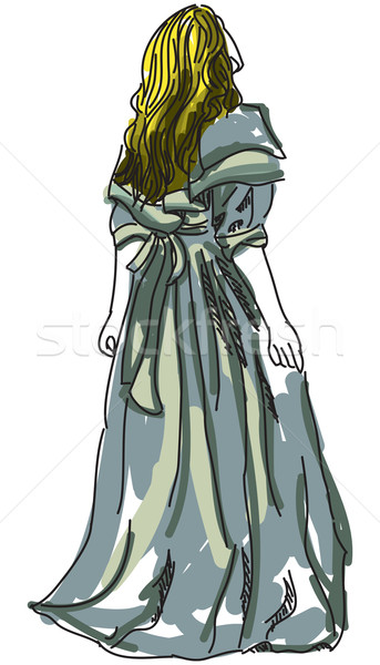 Drawn woman in evening gown Stock photo © cherezoff