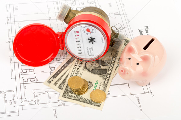 Water meter with piggy bank on draft Stock photo © cherezoff
