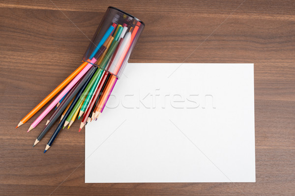 Puste papieru kredki drewniany stół papieru biały arkusza Zdjęcia stock © cherezoff