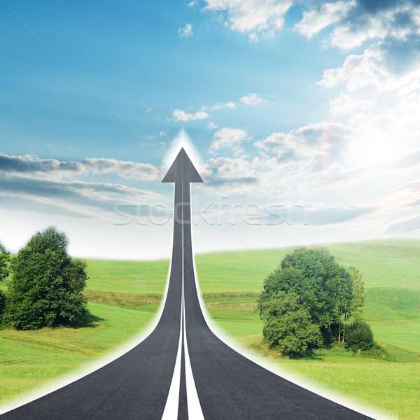 Stock photo: Highway road going up as an arrow