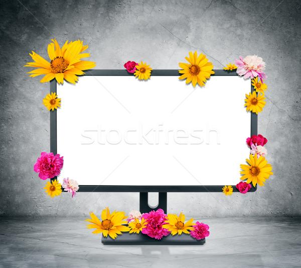monitor blumen grau wand computer tastatur stock foto kirill cherezov cherezoff. Black Bedroom Furniture Sets. Home Design Ideas