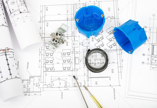 архитектура плана чертежи пластиковых отвертка Сток-фото © cherezoff