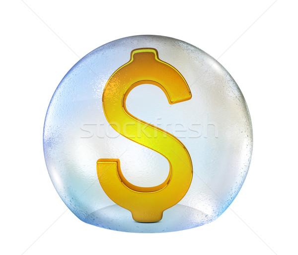 Dolar işareti sabun köpüğü yalıtılmış beyaz 3D Stok fotoğraf © cherezoff