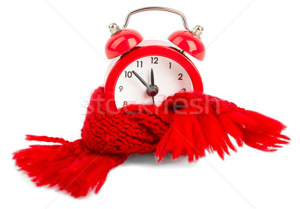 Alarm clock wearing red scarf Stock photo © cherezoff