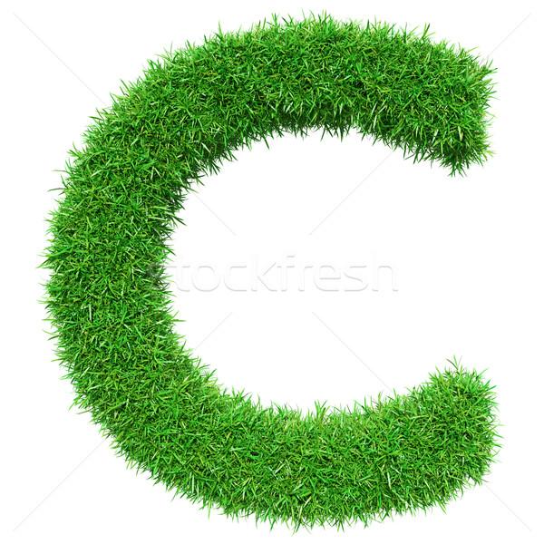 Zöld fű c betű izolált fehér betűtípus terv Stock fotó © cherezoff