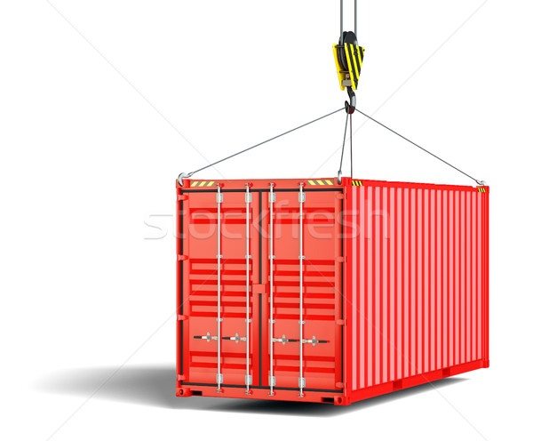 Versandkosten Container Heben Haken metallic rot Stock foto © cherezoff