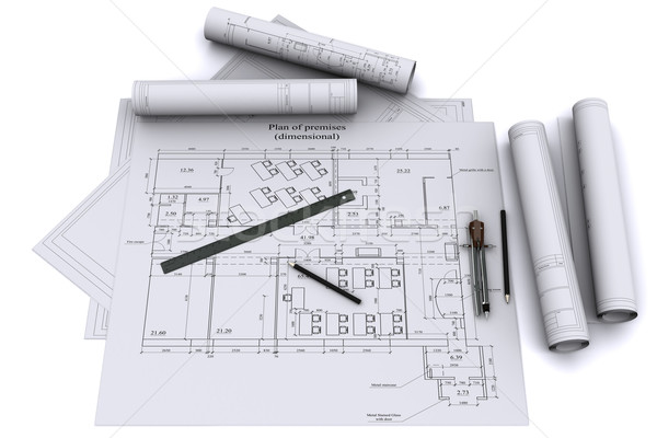 Stock photo: compass, ruler and pencil on architectural drawings