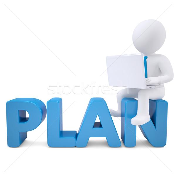 3D blanke man laptop vergadering woord plan Stockfoto © cherezoff