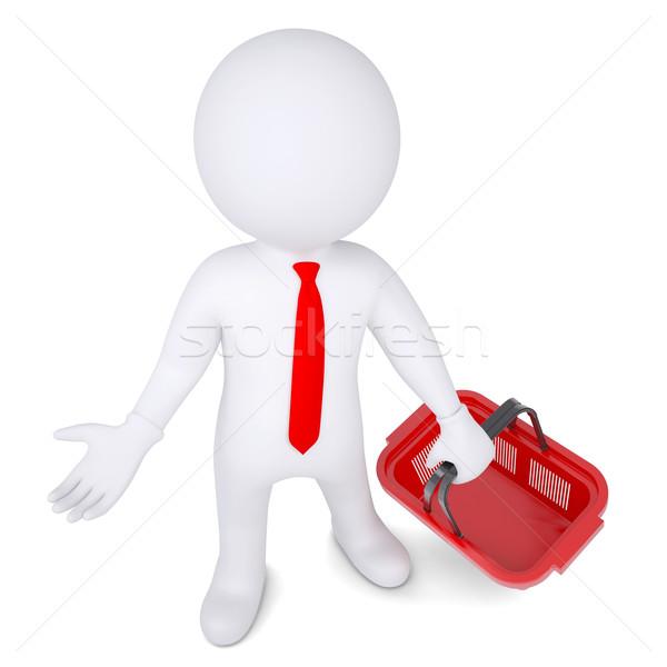 3D blanke man geïsoleerd geven witte Stockfoto © cherezoff
