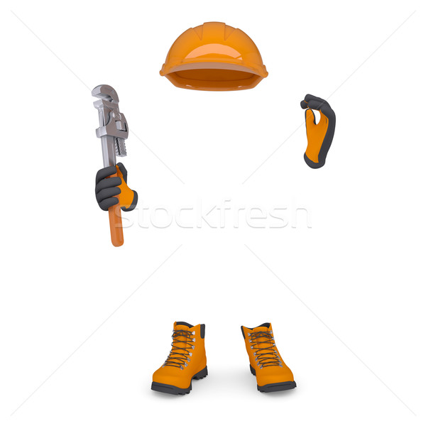 Boots, gloves, helmet and wrench Stock photo © cherezoff