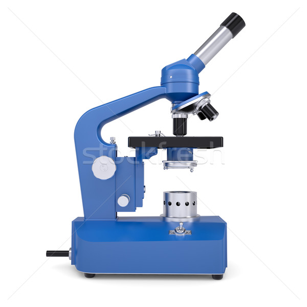 Azul microscopio aislado hacer blanco escuela Foto stock © cherezoff