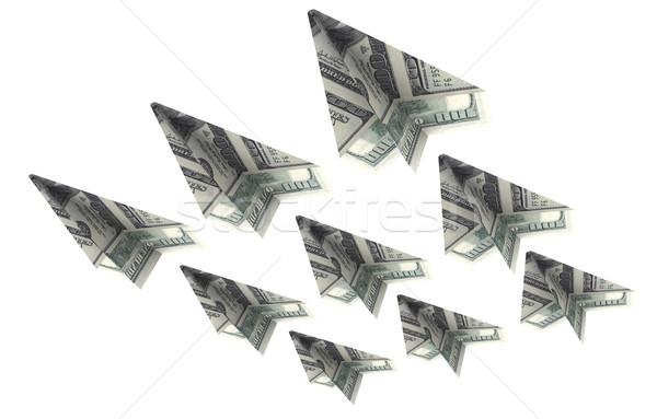 Vliegtuigen dollar vliegen omhoog business papier Stockfoto © cherezoff