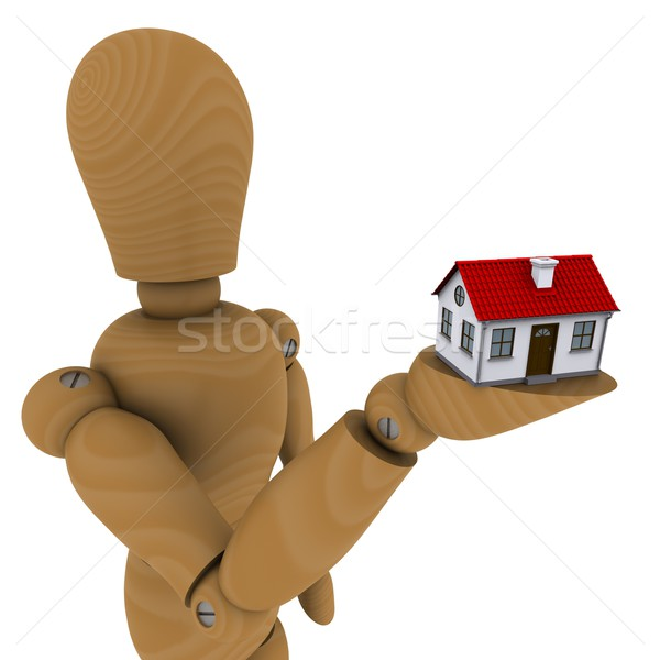 The wooden man holding a house with red roof. 3D rendering Stock photo © cherezoff
