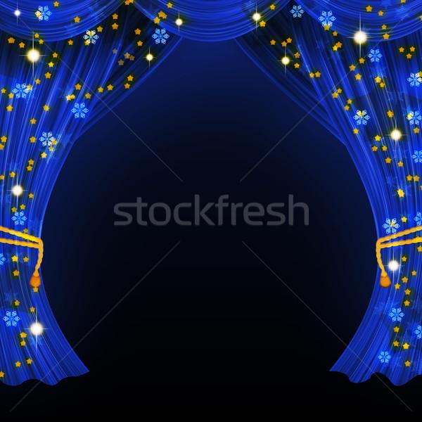 Stock photo: Christmas open curtain