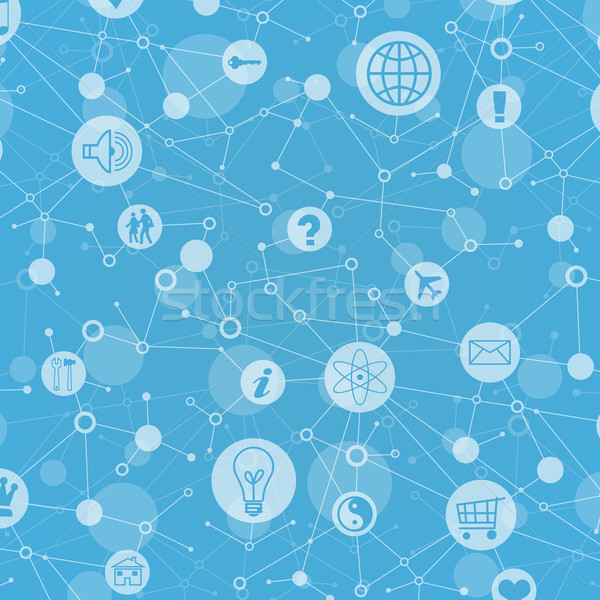 Social network. In lattice sites are various icons Stock photo © cherezoff