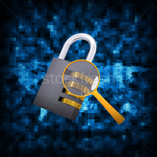 Binary code and combination lock with magnifier Stock photo © cherezoff