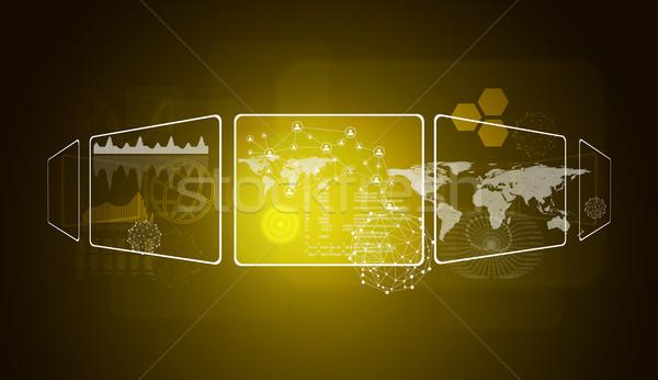 Dünya haritası ağ teknoloji daire ikon küre Stok fotoğraf © cherezoff