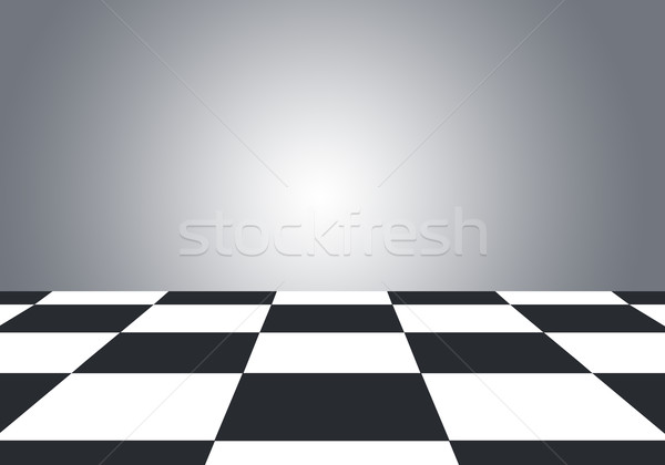 Floor with checkerboard texture and gray wall Stock photo © cherezoff