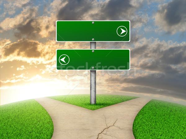 Yol işareti yeşil ot çatal yol gökyüzü Stok fotoğraf © cherezoff