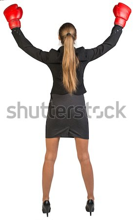 Businesswoman wearing boxing gloves wins. Rear view Stock photo © cherezoff