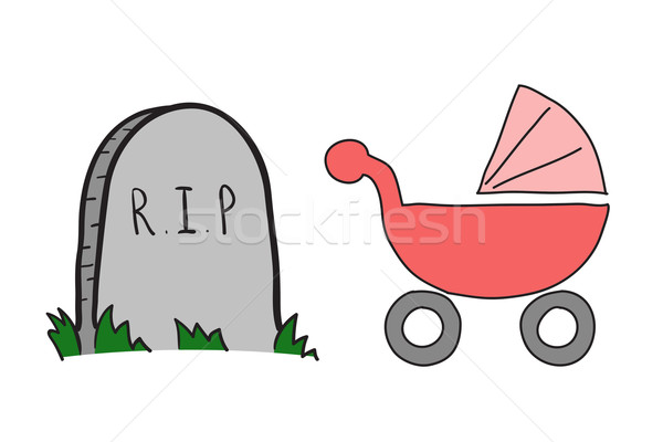 Sketch perambulator and gravestone Stock photo © cherezoff