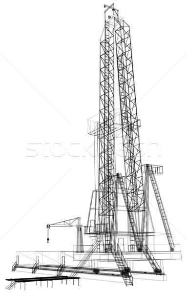 Plate-forme pétrolière détaillée isolé blanche vecteur Photo stock © cherezoff