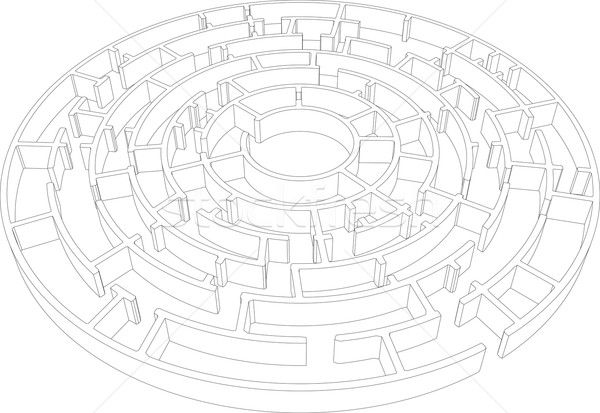 Round intricate labyrinth. Vector Stock photo © cherezoff