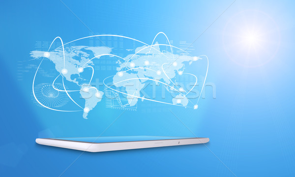 Foto d'archivio: Tablet · virtuale · mappa · del · mondo · grafici · linee · blu