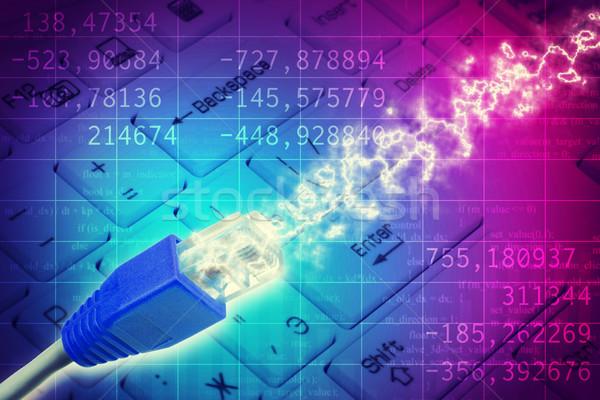 Kabel komputerowy klawiatury streszczenie kolorowy komputera kabel Zdjęcia stock © cherezoff