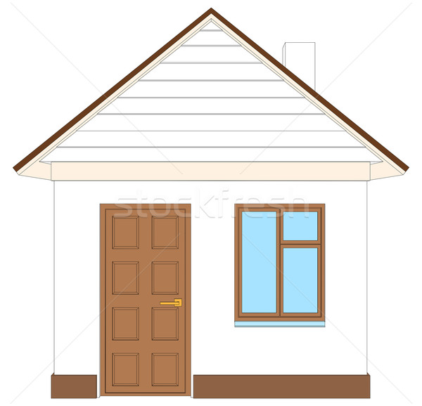 Casa blanca marrón puerta aislado blanco frente Foto stock © cherezoff