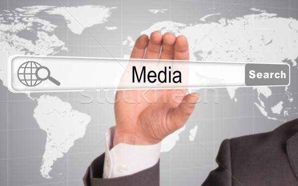 Kéz tart böngésző szó média absztrakt Stock fotó © cherezoff