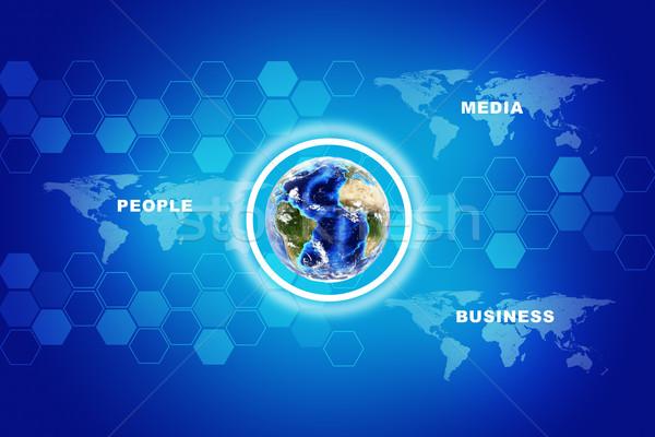 Terre carte du monde résumé bleu image Photo stock © cherezoff
