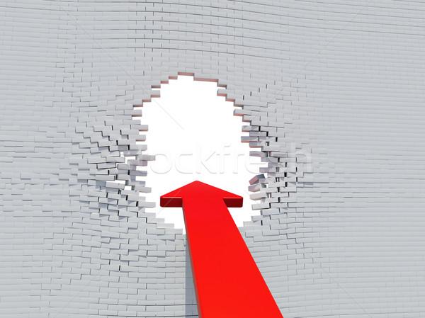 Perete prăbuşi roşu săgeată alb gaură Imagine de stoc © cherezoff