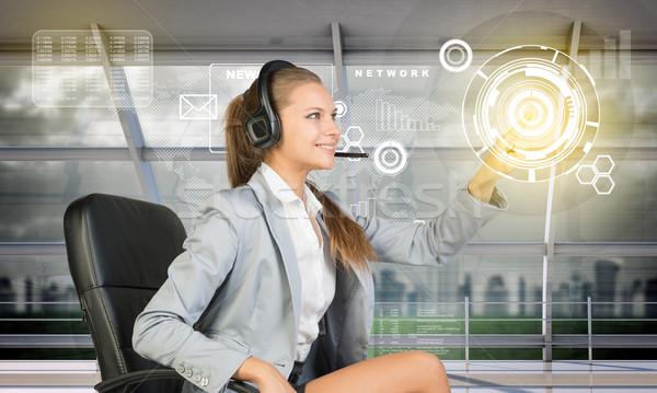 Mosolyog megérint holografikus képernyő technológia Stock fotó © cherezoff