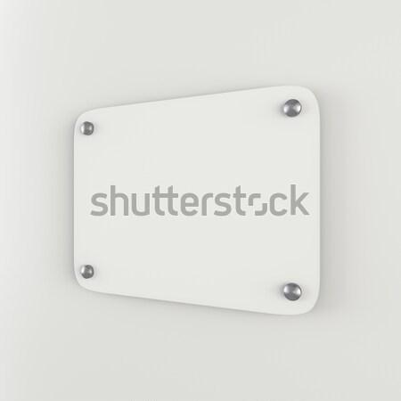 Plastic white empty plate mockup Stock photo © cherezoff