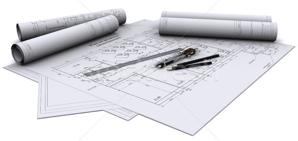 compass, ruler and pencil on architectural drawings Stock photo © cherezoff