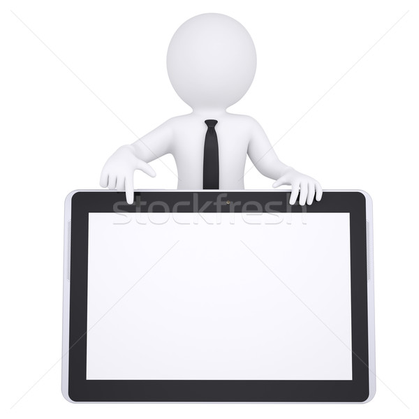 3d white man points a finger at a tablet PC Stock photo © cherezoff