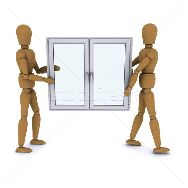 Two wooden doll worker carry a plastic window. 3D rendering Stock photo © cherezoff