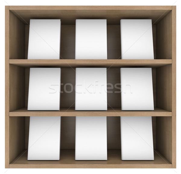 Prateleira de livros 3d render isolado branco textura escolas Foto stock © cherezoff