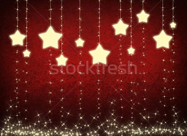 星 雪 クリスマス 赤 抽象的な ウィンドウ ストックフォト © cherezoff