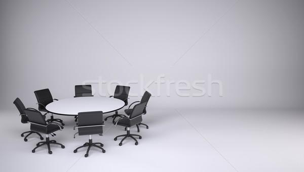 Tablo sekiz ofis sandalye gri işbirliği Stok fotoğraf © cherezoff