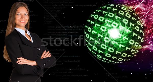 Kobieta interesu garnitur kule cyfry streszczenie Zdjęcia stock © cherezoff
