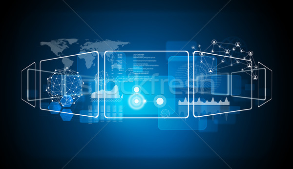 Mapa del mundo red tecnología azul círculo icono Foto stock © cherezoff
