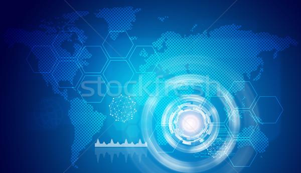 Stock photo: Glow circles, hexagons and world map
