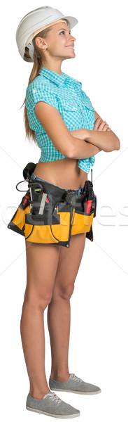 Stockfoto: Mooie · meisje · helm · shorts · shirt