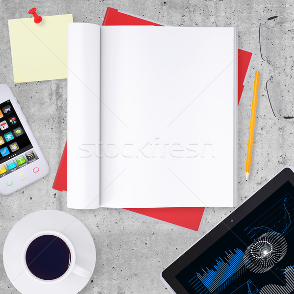 Blank note pad with office and business work elements around Stock photo © cherezoff